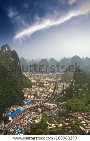 aerial view of the yangshuo county in guilin city,China - stock photo