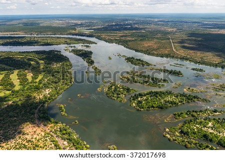 Aerial view of the Zambezi River, Africa