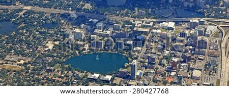 Aerial view of thriving downtown Orlando, Florida - stock photo