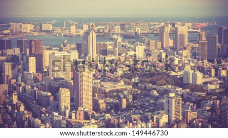 Aerial view of Tokyo city in evening, Japan