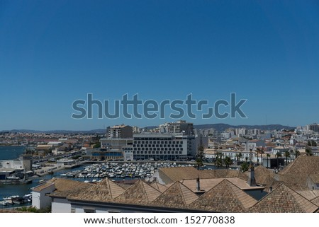 Aerial view of town Faro capital of the Algarve region, Portugal - stock photo