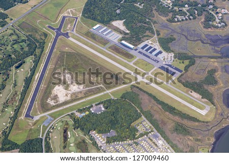 Aerial view of town of Ocean City Maryland Municipal Airport - stock photo