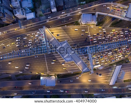 Aerial view of traffic at toll on expressway