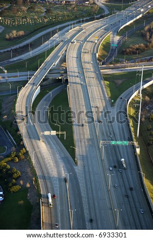 Aerial view of traffic on Dan Ryan Expressway in Chicago, Illinois.