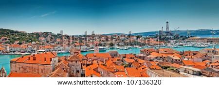 Aerial view of Trogir in Croatia . Old city panorama in Europe - stock photo