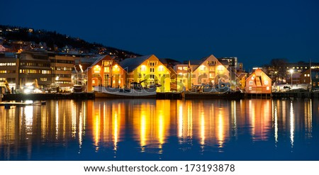Aerial view of Tromso Cityscape at dusk Norway - stock photo