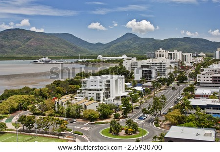 aerial view of tropical city of Cairns QLD - stock photo
