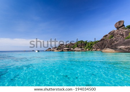Aerial view of tropical island, koh Similan, Thailand - stock photo