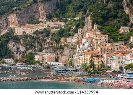 Aerial view of tthe Amalfi city, Italy - stock photo