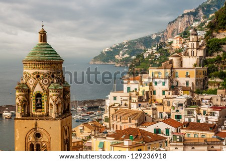Aerial view of tthe Amalfi city with bell tower of the Cathedral in front, Italy - stock photo