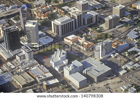Aerial view of Tucson, Arizona - stock photo