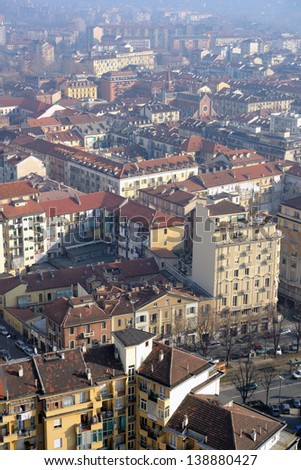 Aerial view of Turin, Italy from Mole Antonelliana