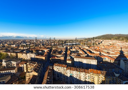 Aerial view of Turin - Piedmont Italy / Panorama from the Mole Antonelliana of the city of Turin (Torino) Piemonte, Italy - stock photo