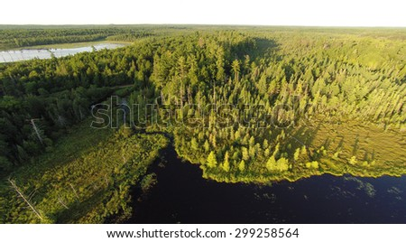 Aerial view of two lakes, surrounded by pine forests and connected by a winding creek in the morning light. - stock photo