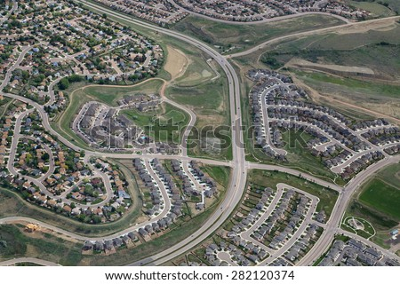 Aerial view of typical affordable tract housing development in Colorado Springs, Colorado - stock photo