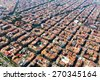 Aerial view of typical buildings at Eixample residential district. Barcelona, Catalonia  - stock photo