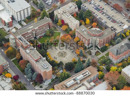 Aerial view of university center square - stock photo