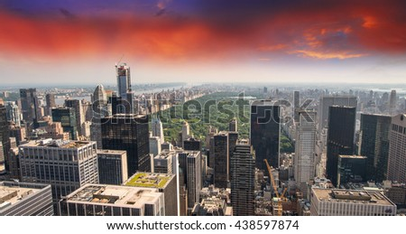 Aerial view of Upper Manhattan and Central Park area on a beautiful summer day. - stock photo