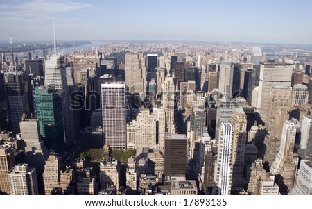 Aerial view of Uptown Manhattan - stock photo