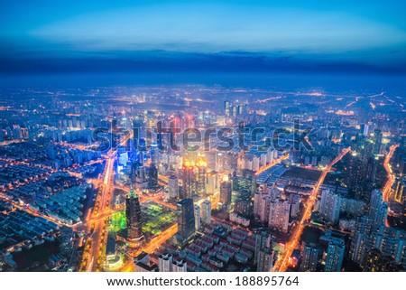aerial view of urban night scene in shanghai metropolis  - stock photo