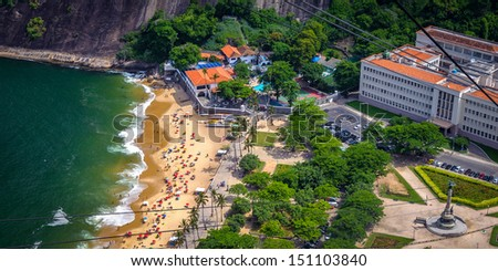 Aerial view of Urca neighborhood from Sugarloaf Mountain, Rio de Janeiro, Brazil - stock photo