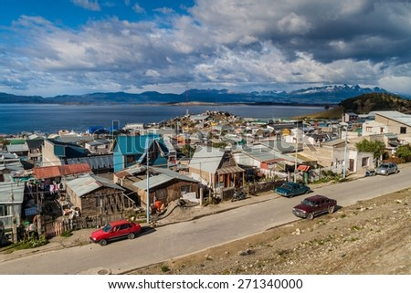 Aerial view of Ushuaia, Argentina - stock photo