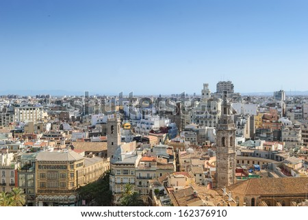 Aerial View Of Valencia From the Miguelete Tower  - stock photo