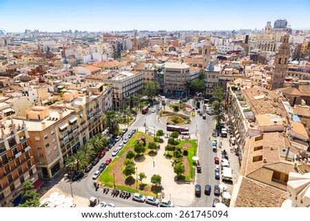 Aerial view of Valencia in a summer day, Spain - stock photo