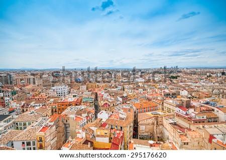 Aerial view of Valencia, Spain under blue sky - stock photo