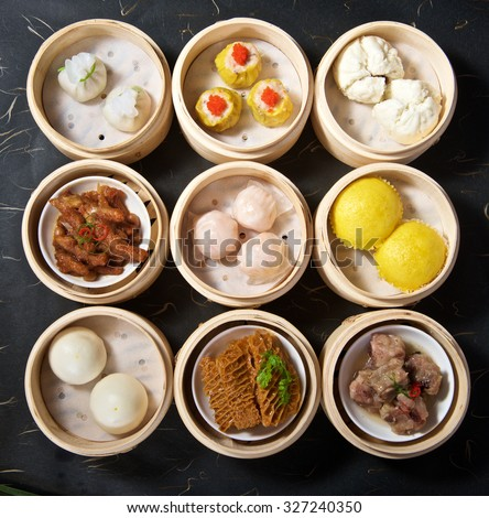 Aerial View of Various Yumcha Dimsum Set in bamboo container - stock photo