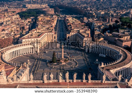 Aerial view of Vatican City and Rome, Italy: St. Peter's Square in the sunrise