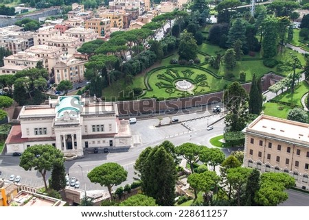 Aerial view of Vatican gardens and railway station