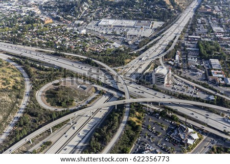 Aerial view of Ventura 134 and Glendale 2 freeway interchange in the Eagle Rock neighborhood of Los Angeles, California.