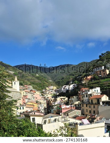 Aerial view of Vernazza - small italian town in the province of La Spezia, Liguria, northwestern Italy. - stock photo