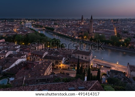 Aerial view of Verona. Italy. Beautiful sunset panorama.