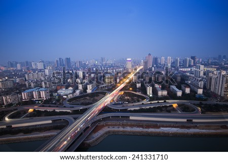 Aerial view of viaduct night - stock photo