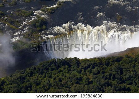 Aerial view of Victoria Falls, Africa - stock photo
