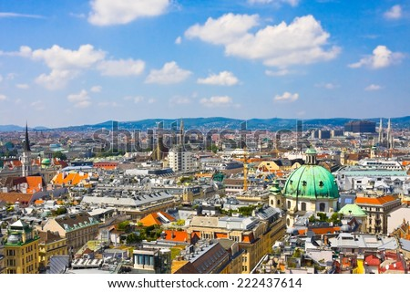 Aerial view of Vienna as seen from the Saint Stephan (Stephansdom) cathedral, Austria  - stock photo