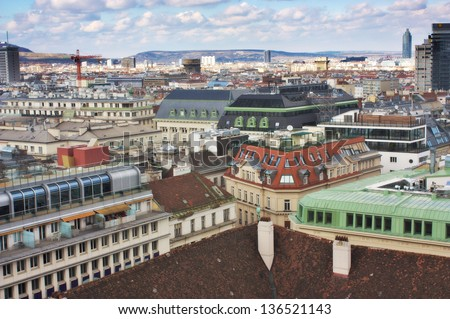 Aerial view of Vienna from Stephandom's north tower
