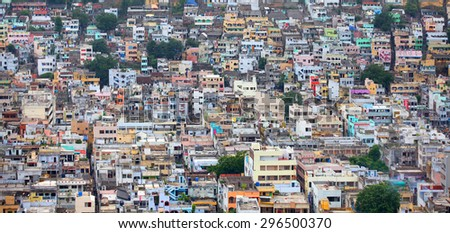 Aerial view of Vijayawada city in India, August 29,2012 in Vijayawada, India.The Andhra Pradesh state government would make a new capital city for the truncated state in the areas around Vijayawada - stock photo