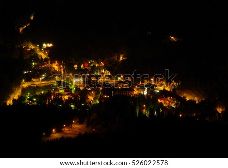 aerial view of village at night