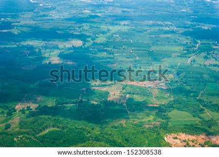 aerial view of village landscape from airplane - stock photo