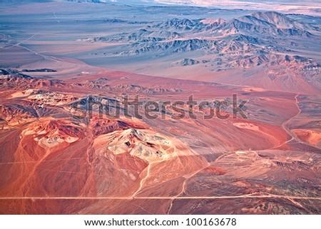 aerial view of volcanoes, Atacama desert, Chile - stock photo