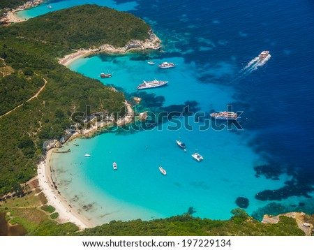Aerial view of Voutoumi beach in Paxos island Greece - stock photo