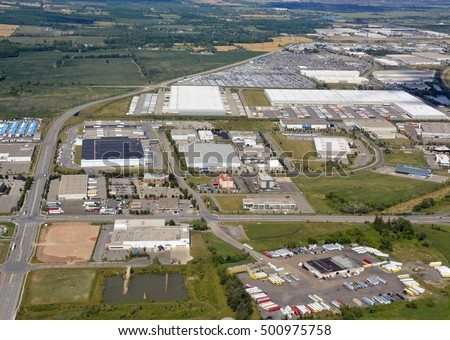 aerial view of warehouses in an industrial park in Milton, Ontario Canada