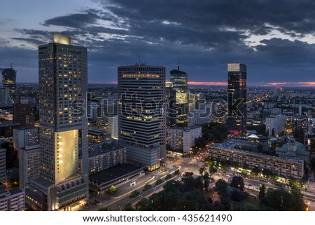 Aerial view of  Warsaw  Financial Center at night, Poland