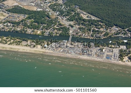 aerial view of Wasaga Beach at the Georgian Bay, Ontario Canada