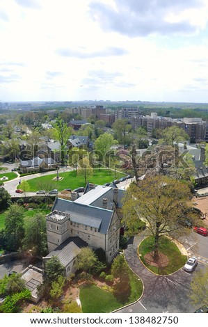 Aerial View of Washington DC, USA - stock photo