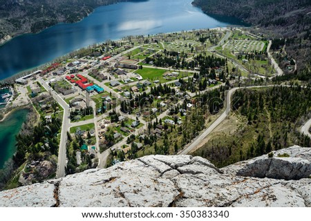 aerial view of Waterton Lake and townsite from the Bear's Hump lookout, Waterton Lakes National Park, Alberta, Canada - stock photo