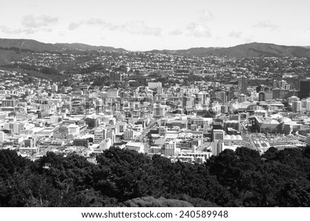 Aerial view of Wellington CBD. North Island, New Zealand. Capital city. Black and white tone - retro monochrome color style. - stock photo